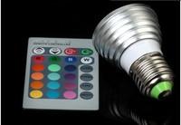 110-220V 3W E27 MR16 GU10 E14 RGB LED Bulb 16 Color change led blub with 24keys Remote Control