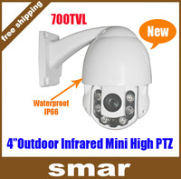 700TVL SONY CCD Mini PTZ Camera Outdoor 10x ZOOM Low Illumination Waterproof High Speed IR 60m IR-CUT Filter Free Shipping