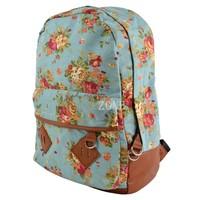 Canvas Backpack College New Fashion Girls' School Bag Flowers Women Rucksack Schoolbag 15934