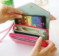 4pcs/lot factory Crown smart pouch leather wallet case handbags For Samsung for apple phone Free shipping, comestic bag