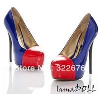 Free Shipping Lady's Major Suit Style Noble Split Joint Color Block High Heel Pump Shoes Sapphire Blue GZ11111917-1
