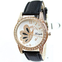 Watches Women Fashion Luxury Watches Brand Name PU Leather Wristwatches Diamonds Butterfly Free Shipping