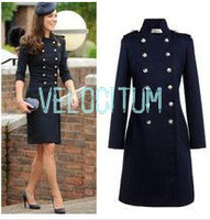 Drop Shipping New Europe Womens Warm Wool Long Double Breasted Navy Coat ,Women Kate Middleton Coat Vintage Jacket Coat  S-XL