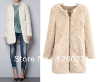 2013 ZA New Winter Women's Crew Neck Circling Hairy Shaggy Faux Fur Long Sleeve Zipper closure Long Jacket Coat Free Shipping