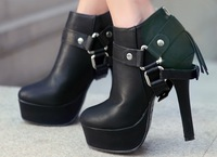 2013 winter European trendy vintage buckles tassels ankle boots for women platform high heels boots shoes 12cm