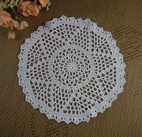 Free Shipping new 100% cotton Crochet Doily handmade tablecloths Crochet cup mat pad 23CM White Ecru Pink 20pcs/LOT