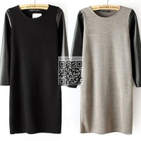 W39 Autumn & Winter PU Knit Patchwork Lose Long Sleeves O Neck Fashion Casual Dress Black Grey Tops Women Dresses Free Shipping