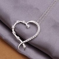 Wholesale 925 Silver Plated Fashion Jewelry Double Heart Necklace Set Zircon Classic Silver Plated Necklace for women N365