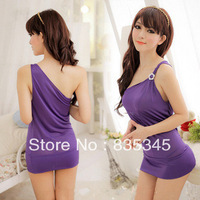 Silk pajamas Sexy Cute Single Shoulder Strap Tight Sexy Lingerie + G-string