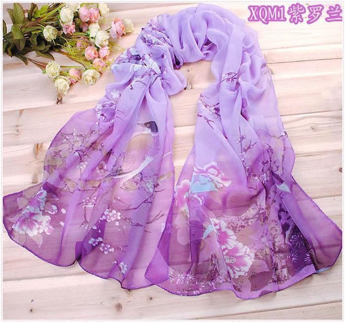 Birds Printing fashion Scarf Chinese silk scarf polka velvet scarf chiffon Bohemia Scarf free shipping (SC00308)(China (Mainland))