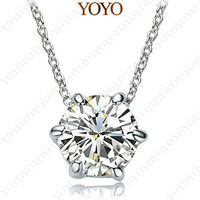 18K White Gold Plated Shining Austria Crystal 2CT Simulated  Diamond Pendant Necklace N149W1