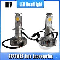 Free shipping, 50W H7/H8/H11/9006/9005 car LED headlight, vehicle fog light, new CREE CXA1512 chips, 2000LM more brightness.