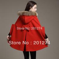 2014 new arrival real long sobretudo casacos femininos women autumn and winter cloak coat overcoat collar outerwear cape female