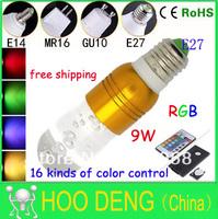 led bulbs rgb 9W E27 LED Light 16 Color Crystal LED lamp With 24 key Remote Control RoSH fashion design hot sale free shipping