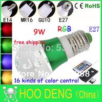 8pcs Sale lighting bulbs 9W E27 RGB LED bulbs 16 Color CrystalWith 24 key Remote Control CE/RoSH fashion design free shipping