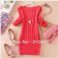 Free shipping 2013 Korean version bottoming collar Long Slim package hip skirt women's knit sweater