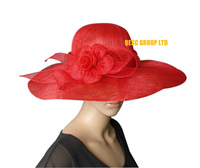 Red Big Sinamay Hat Fascinator for a Wedding,church,kentucky derby,ascot,races,party.FREE SHIPPING