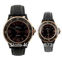 2013 new arrival fashionable genuine leather watchband  gold lovers watch The couple watches modern Perfect Gift free shipping