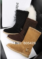 Wholesale 2013 Winter Newest Genuine Cow Leather Embossing Keep Warm Mid-Calf Women Snow Boots Chocolate Chestnut Black 35-40