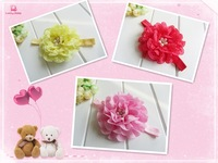 "Top Quality Elegant Flower Baby girls Hair accessories  3.7"" Chiffon flowers children accessories  with Pearl headband 20pcs/lot"