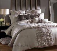 4PCS/6PCS flesh pink king size duvet covers hot sale luxury bedding set bed sheet brand bedclothes