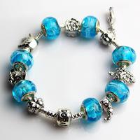 2013 fashion jewelry Charms Big hole Lampwork Glaze Beads Glass Bracelet Bangle. crystal bracelets silver plated FREE SHIPPING