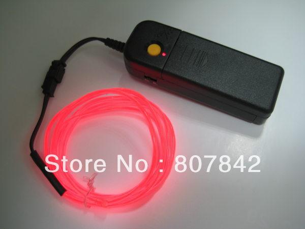 Frete grátis 3M flexível Neon Luz Brilho Fio de Luz EL Corda Tubo Luz Para Carro Dancer férias luz branca / azul / verde / rosa(China (Mainland))