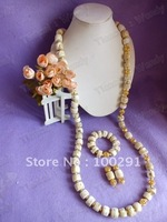 Men's White Long to Waist Design African Wedding Natural Coral Jewelry Set