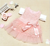 1PCS Retail ! Newborn baby clothing cute lace flower baby girl princess mini dress pink /white available new born baby wear