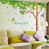 "79"" *130"" XY1098 Green Tree Wall Sticker 1set=3pc Hi-Quality Removable Wallart Living Room Decor PVC Vinyl Sofa Bacjground Paper"