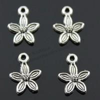 100pcs/lot 11mm Antique Silver, Antique Bronze Plated Flower Charms