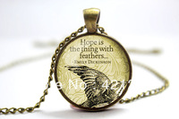 Emily Dickinson Necklace, Hope Is The Thing With Feathers, Bronze Glass Cabochon Necklace