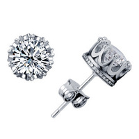 Free shipping  925 Pure Silver Stud Earring Inlaid Stones Imperial Crown Earring For Women or Men or Lovers New Arrivals