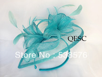 Turquoise Blue Sinamay Fascinator sinamay hat with feathers for wedding/party/races.FREE SHIPPING