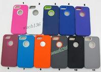 Wholesale 300pcs /lot mixed color plastic + silicone shockproof protective hard case cover for iphone5 and 5S free shipping