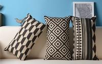 IKEA  Black white Cushions geometric  STRIPED Linen PILLOW COVER CASES Cushion cover OFFICE HOME Decorate SOFA CUSHIONS 30x50cm