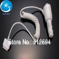 Hot sale new arrivel Brand Portable Car Charger Power Adapter For iPhone 4S 4G 3GS iTouch White Freeshipping