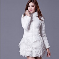 2013 new winter fashion lady down jacket and long sections Slim thin lace winter authentic free shipping