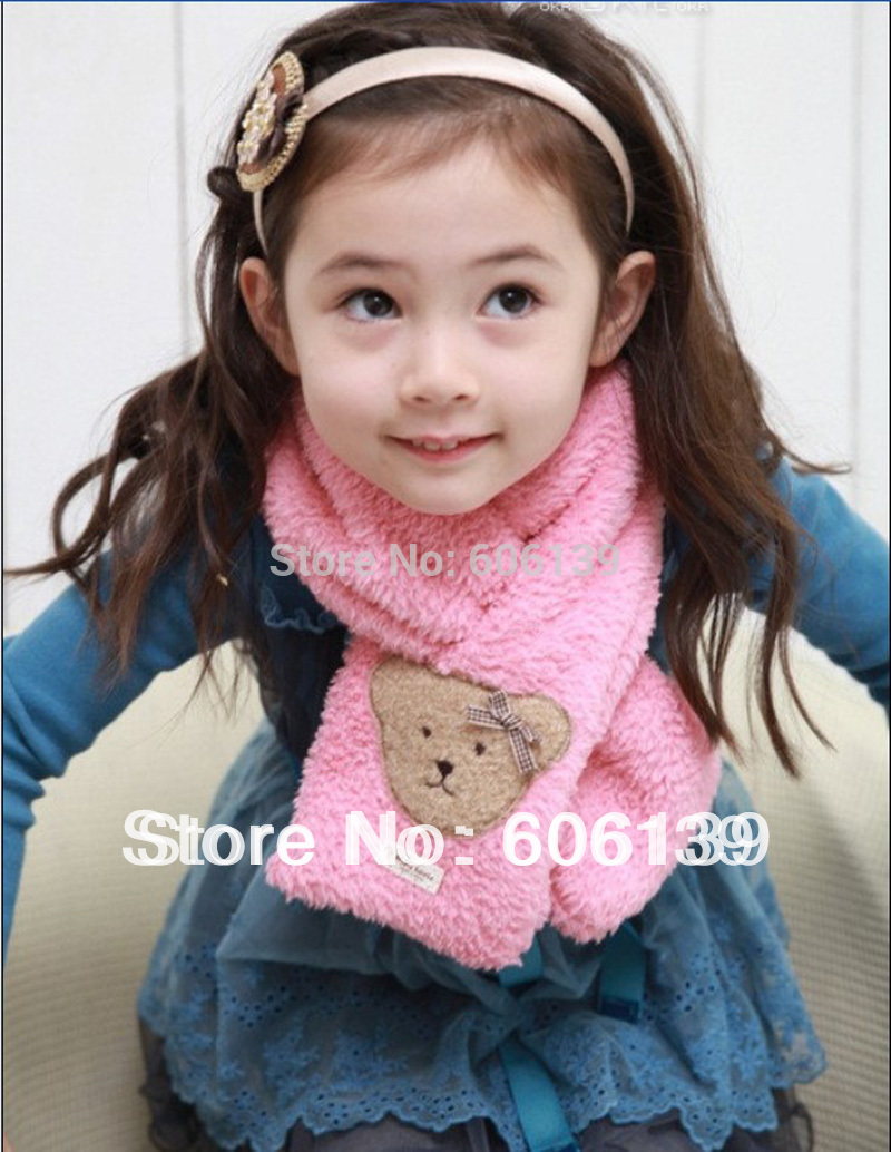 Fashion lovey autumn winter coral fleece small bear scarf baby boys girls Scarves Wraps 5pcs/lot mix color free shipping(China (Mainland))