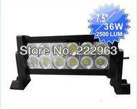 "10PCS/Lot 7.5"" 36W LED Work Light Bar Lamp Tractor Boat Off-Road Truck SUV ATV Spot Flood Super Bright, free shipping"