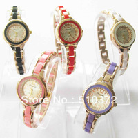 brand new 5pcs mixed colors Lady Girl WOMEN Quartz Movement watch round bracelet Wristwatches Xmas birthdays wedding gift c44