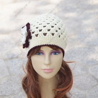 woman winter hat women caps winter female cap wholesale Coffee beige hat crochet flower hat wool hat free shipping