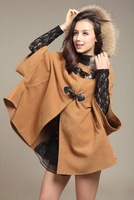 2013 autumn and winter Korean version of organza embroidered lace wool woolen coat thick woolen coat female
