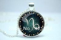 10pcs/lot Capricorn Necklace, Zodiac Sign Pendant, Constellation Jewelry Glass Cabochon Necklace
