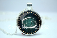 10pcs/lot Cancer Necklace, Zodiac Sign Pendant, Constellation Jewelry Glass Cabochon Necklace