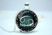 10pcs/lot Cancer Necklace, Zodiac Sign Pendant, Constellation Jewelry Glass Cabochon Necklace