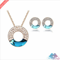 Wholesales Fashion Jewelry 18K Gold Plated Austrian Crystal Vintage Moon Bridal Wedding Jewelry Sets for women 4587