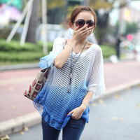 2014 summer women's lace decorated Gradient color hollow-out cape knitted sweater Free shipping drop shipping