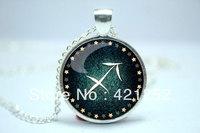 10pcs/lot Sagittarius Necklace, Zodiac Sign Pendant, Constellation Jewelry Glass Cabochon Necklace