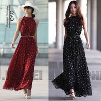 OVO!2014 new  Bohemian style sleeveless long dress chiffon dresses Dot dress  free size F.LYQ.073